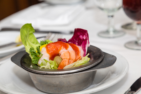 shrimp cocktail: Fresh Shrimp Cocktail with Sauce on Butter Lettuce