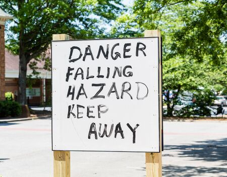 Danger Falling Hazard sign hand painted