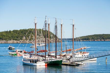 Three masted schooners moored in Bar Harbor Maine Stock Photo