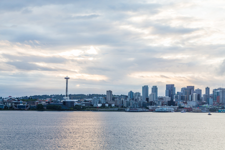 the emerald city: Seattle skyline at dawn from the sea