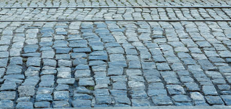 cobblestone road: Tracks in old Cobblestone road