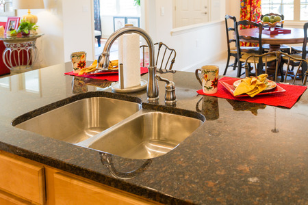Stainless Steel Kitchen Sink and Fixture on Granite Countertop