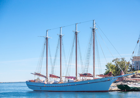 Four masted schooners moored in Bar Harbor Maine Stock fotó