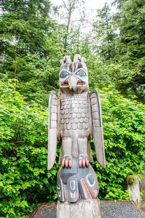 northwest indian art: A Bird Totem in Alaskan Forest