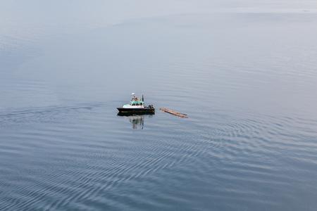 patrol: Debris Patrol boat cleaning up logs in Nanaimo Harbor