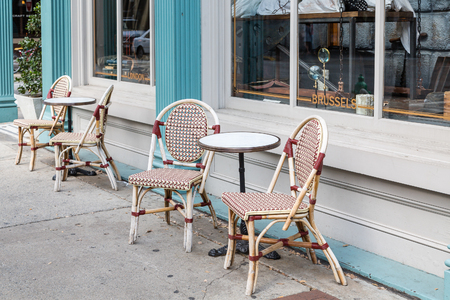 round chairs: Chairs and Round Tables on Sidewalk outside cafe
