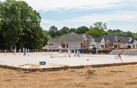 slab: Slab poured on new residential construction site Stock Photo