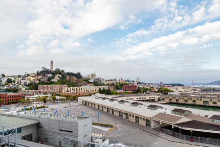 coit: Port of San Francisco with Coit Tower in Background Stock Photo