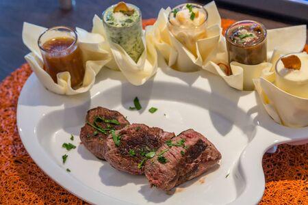 tenderloin: Grilled Beef Tenderloin with Five Gourmet Sauces