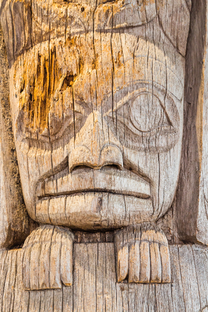 canadian pacific: Ancient Inuit Totem in Alaska Stock Photo