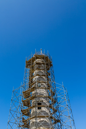 Scaffolding on the old lighthouse in Aruba