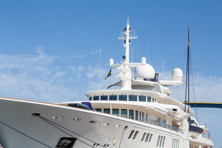 sonar: A huge white custom private yacht docked in Curacao Archivio Fotografico