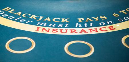 blackjack: Blackjack Insurance on Green Felt Table