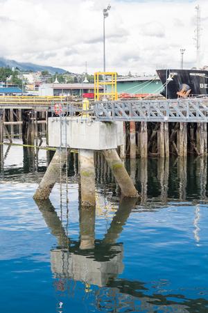 Mooring Platform in Nanaimo Harbor on Blue Water Stock Photo