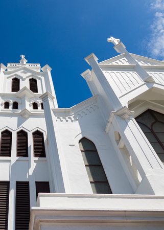 episcopal: White towers on an old Episcopal church in Key West, Florida Stock Photo