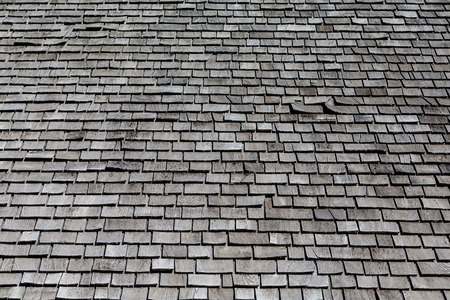 Grey Wood Shaker Roof for Background Stock Photo
