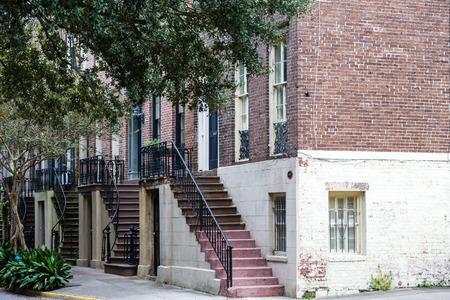 Steps on old townhouses in Savannah Georgia