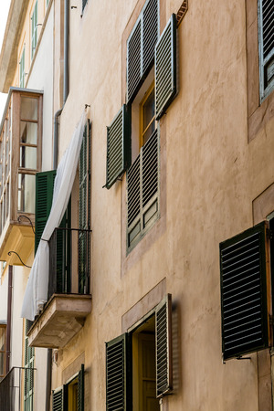mallorca: Old buildings in Palma de Mallorca Spain Stock Photo