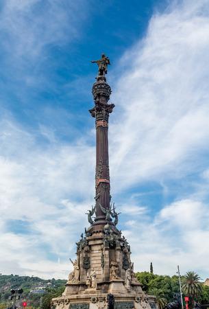 rambla: The statue of Columbus at the foot of La Rambla in Barcelona, Spain