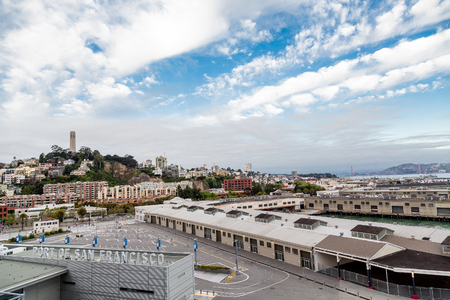 Port of San Francisco with Coit Tower in Background Stock Photo