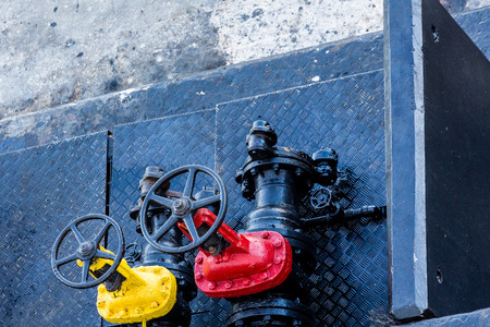 Yellow and Red Valves on Old Barge Reklamní fotografie