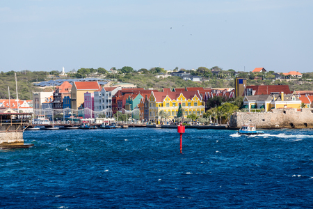 Colorful Buildings in Willemsted Curacao with bridge