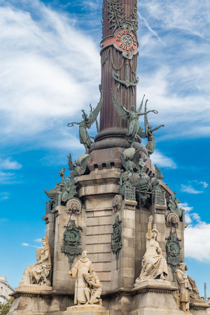 The statue of Columbus at the foot of La Rambla in Barcelona, Spain