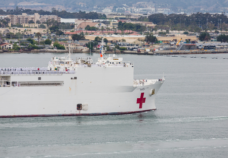 United States Naval Ship Mercy sailing into San Diego Harbor Stock Photo