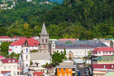 New roof being installed on old church in the coastal Caribbean town of Rosseau Dominica