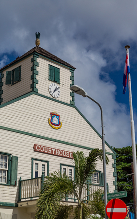 Philipsburg Courthouse on St Maarten Stock Photo