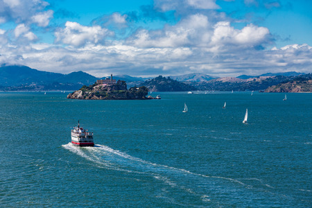 Ferry Toward Alcatraz Island Stock Photo