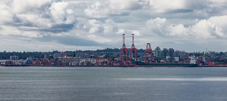 Industrial shipping port near Vancouver British Columbia