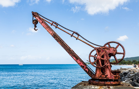Old Red Rusty Crane by Sea on St Croix