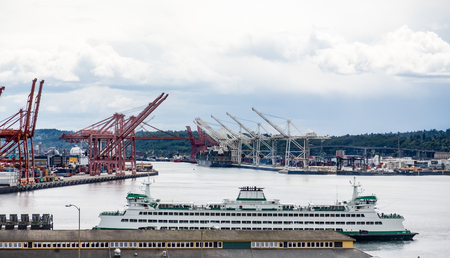Huge Green and White Ferry by Seattle Freight Terminals