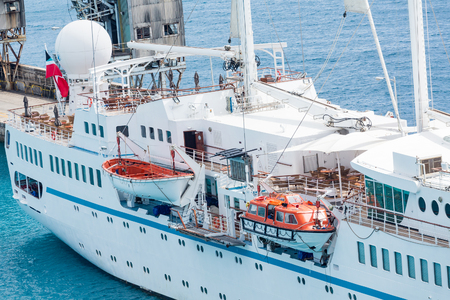 cruising: Open Old Style LIfeboat on Small Cruise Ship