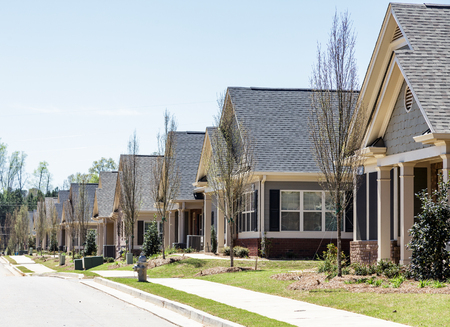 townhomes: A row of modern townhouses in a new subdivision