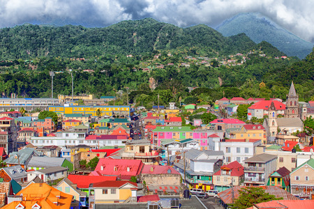 Colorful buildings in the coastal Caribbean town of Rosseau Dominica