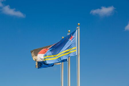 Flag of Curacao on Blue Sky Фото со стока