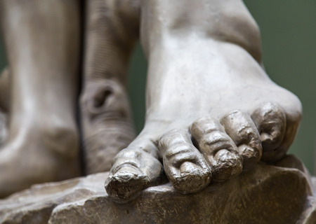 Stone Foot on Ancient Statue