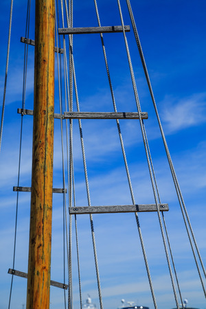 Wood Mast and Rigging on Old Sailboat
