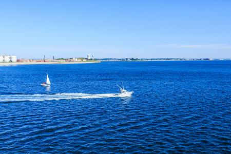 Boats in Early Morning Boaton Harbor Stock Photo