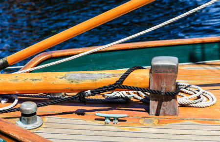 Worn and Detailed Rigging on Wood Sailboat