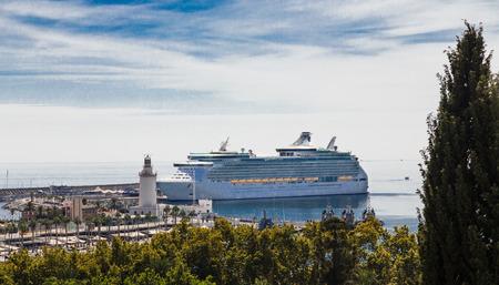 Luxury Cruise ship in Malaga Harbor Stok Fotoğraf