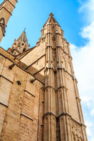 Details of ancient architecture in Palma de Mallorca Spain