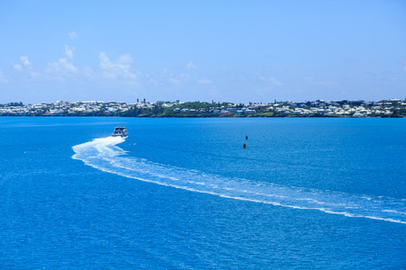 Ferry Curving Toward Coast of Bermuda