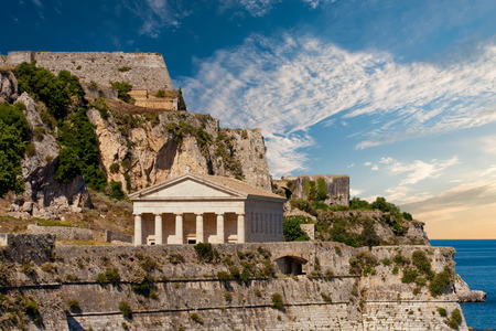 An ancient temple on the coast of the Greek island of Corfu Stok Fotoğraf