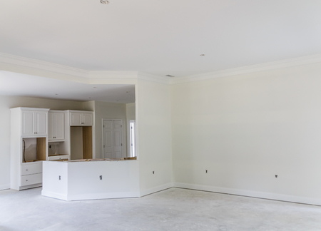 Drywall Paint and Cabinets in New Home Construction Archivio Fotografico