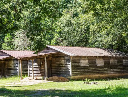 Old rustic cabins in a church retreat in a rural area