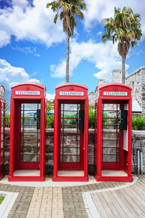 old english: Old classic British red phone booths in Bermuda