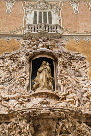 Madonna and Child with Cherubs in Arch of Church Stock Photo